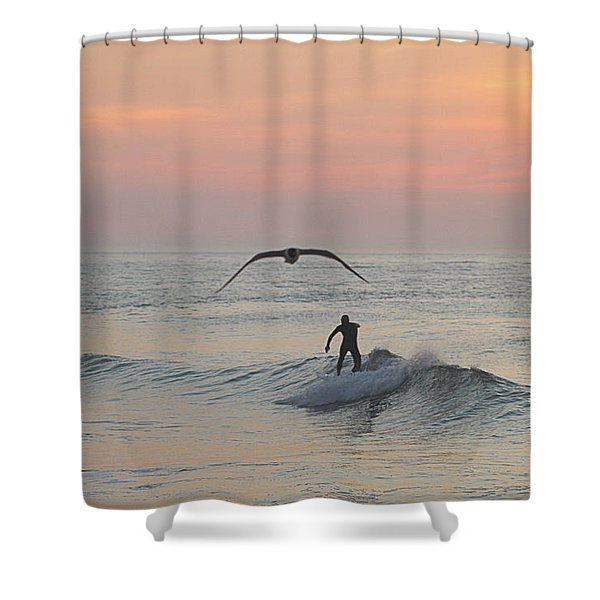 Seagull And A Surfer Shower Curtain