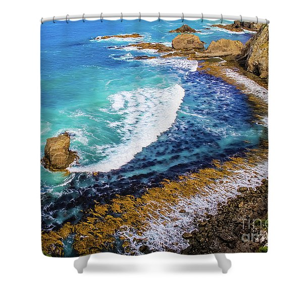 Roaring Bay At Nugget Point Shower Curtain