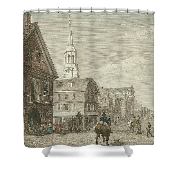 Second Street North From Market St. And Christ Church Shower Curtain