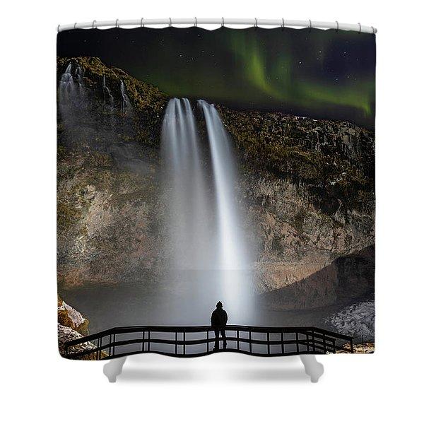 Seljalandsfoss Northern Lights Silhouette Shower Curtain