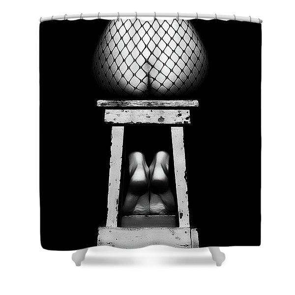 Sensual Woman Sitting Rear View Shower Curtain