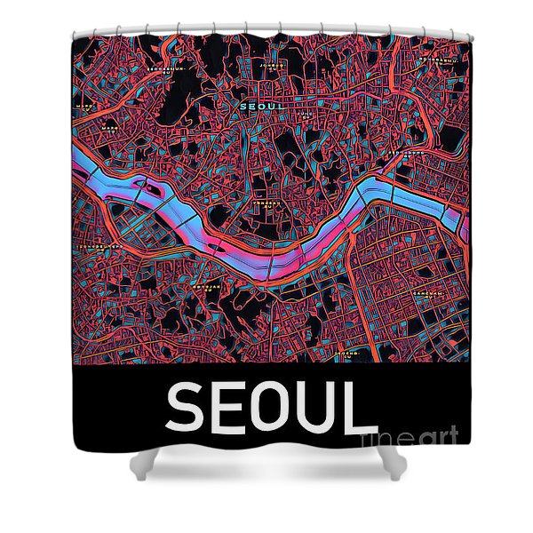Seoul City Map Shower Curtain