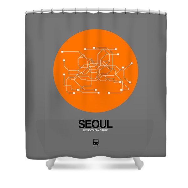 Seoul Orange Subway Map Shower Curtain