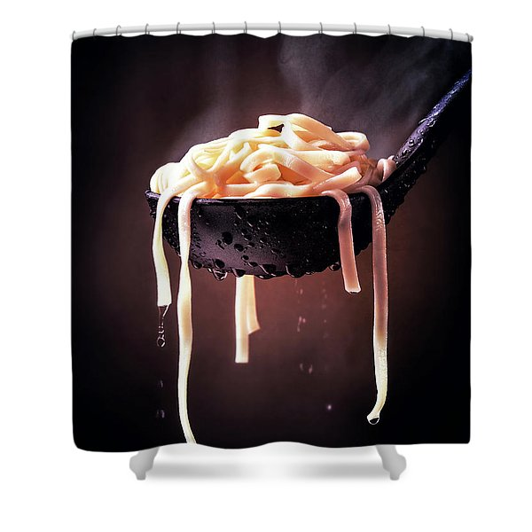 Serving Cooked Fettuccine Steaming Hot Shower Curtain