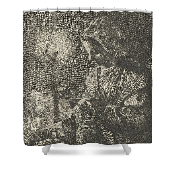 Sewing By Lamplight Shower Curtain