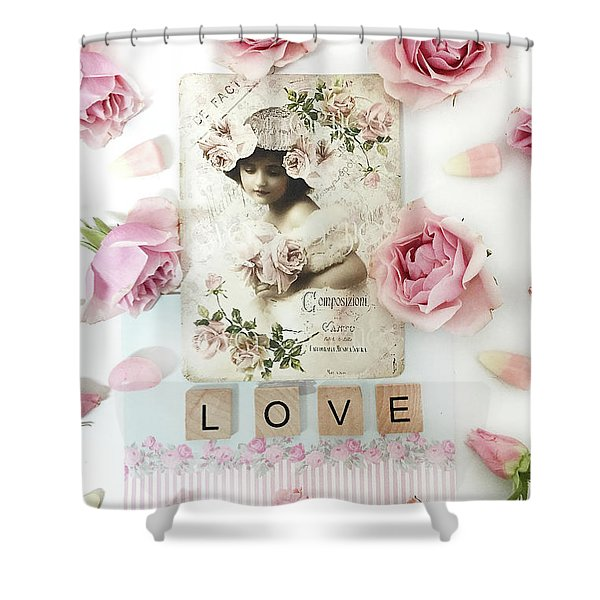 Shabby Chic Love Pink Roses Victorian Floral Vintage French Girl Pink Roses Love Decor Shower Curtain