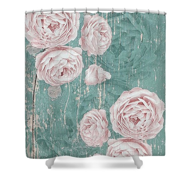 Shabby Chic Roses Distressed Shower Curtain