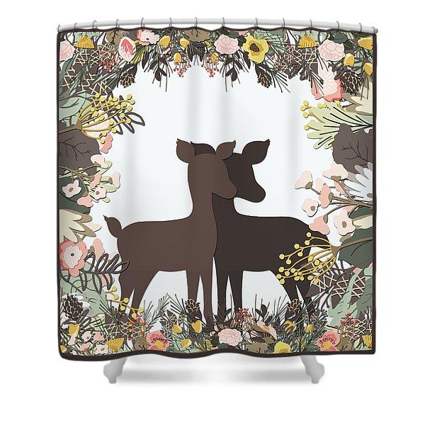 Shadowbox Deer Shower Curtain