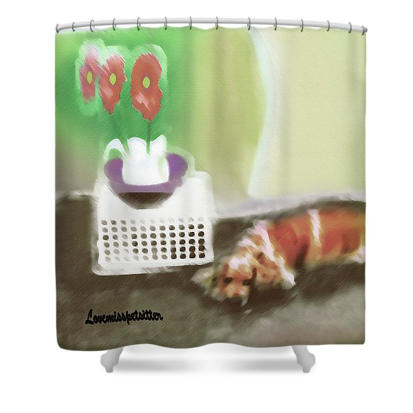 Shaggy And Flowers Painting Shower Curtain