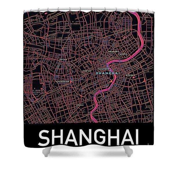 Shanghai City Map Shower Curtain
