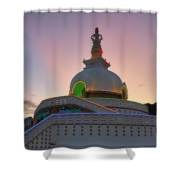 Shower Curtain featuring the photograph Shanti Stupa by Whitney Goodey