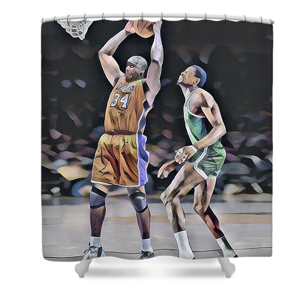 Shaquille O Neal Vs Bill Russell Abstract Art 1 Shower Curtain