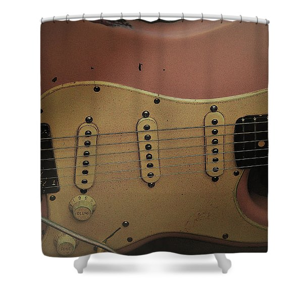 Shelly Pink Guitar Shower Curtain