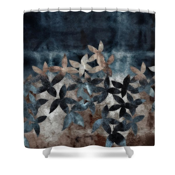 Shibori Leaves Indigo Print Shower Curtain