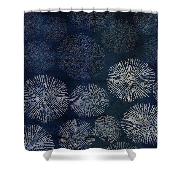 Shibori Sea Urchin Burst Pattern Dark Denim Shower Curtain