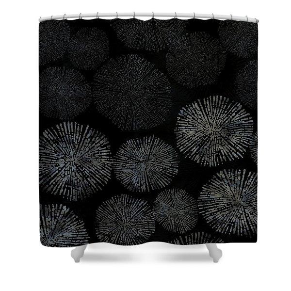 Shibori Sea Urchin Burst Pattern Shower Curtain