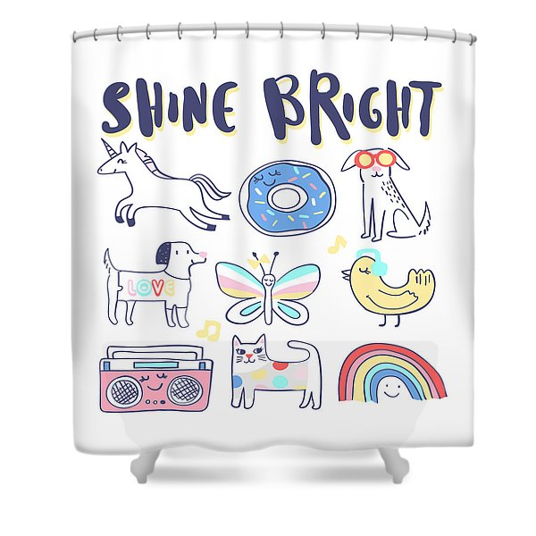 Shine Bright - Baby Room Nursery Art Poster Print Shower Curtain