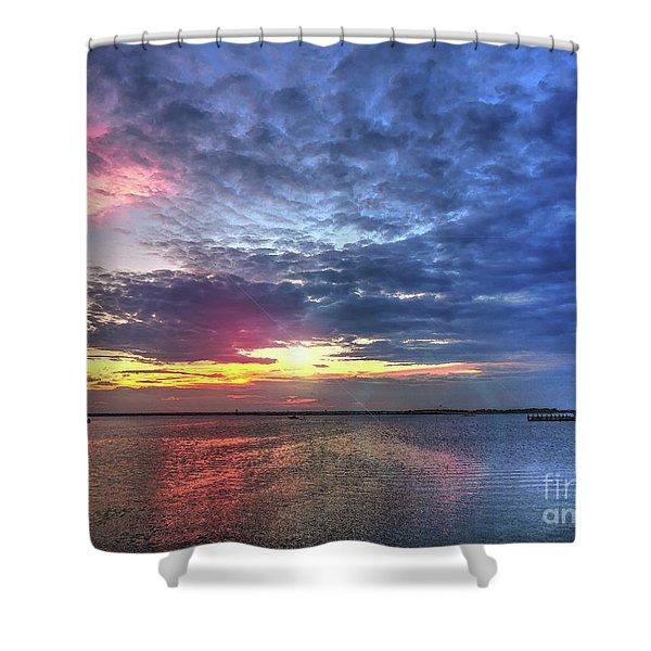Ship Bottom Sunset Shower Curtain