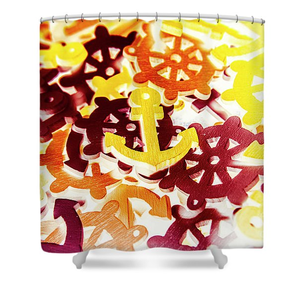 Ship Shapes And Ocean Ornaments Shower Curtain