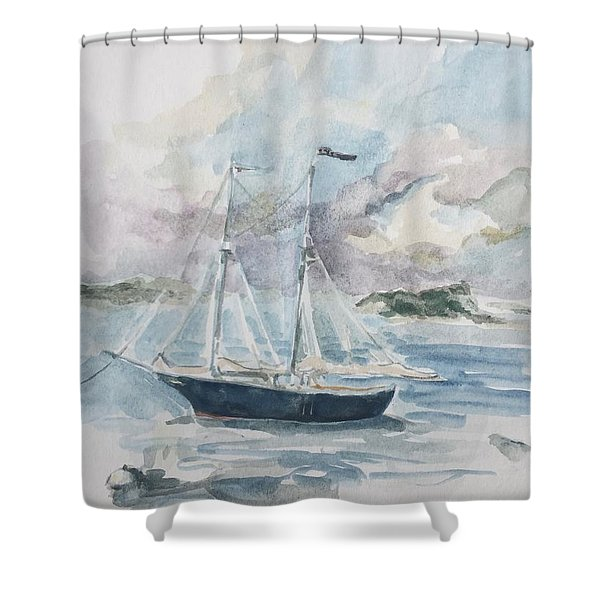 Ship Sketch Shower Curtain