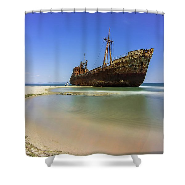 Shower Curtain featuring the photograph Shipwreck Dimitros Near Gythio, Greece by Milan Ljubisavljevic