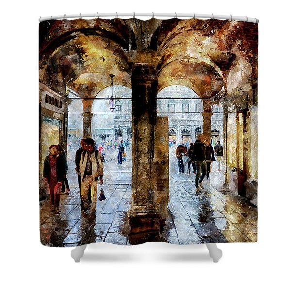 Shopping Area Of Saint Mark Square In Venice, Italy - Watercolor Effect Shower Curtain