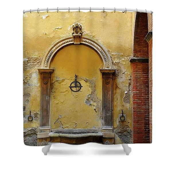 Sienna Fountain Courtyard Shower Curtain