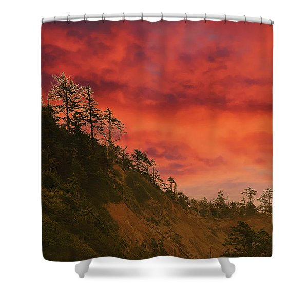 Silhouette Of Conifer Against  Seacoast  Shower Curtain