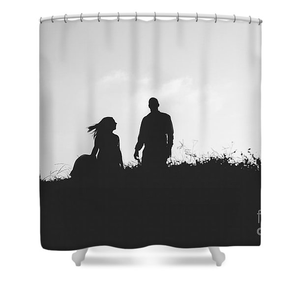 Silhouette Of Couple In Love With Wedding Couple On Top Of A Hil Shower Curtain