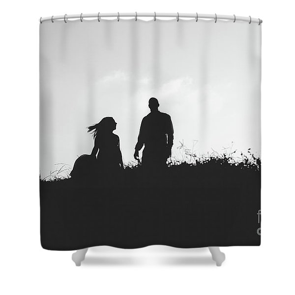 Silhouette Of Couple In Love With Wedding Couple On Top Of A Hill Shower Curtain