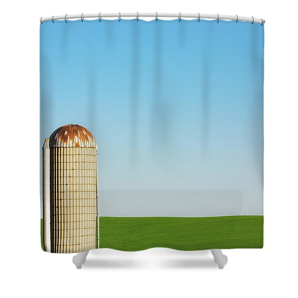 Silo On Blue And Green Shower Curtain