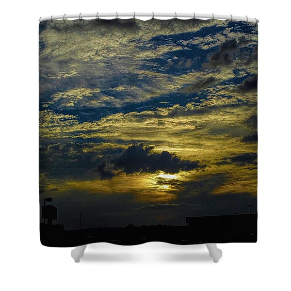 Silver, Blue And Gold Shower Curtain