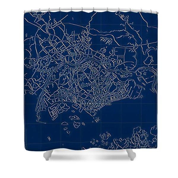 Singapore Blueprint City Map Shower Curtain