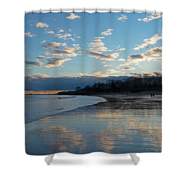 Singing Beach As Sunset Panorama Manchester Ma Shower Curtain