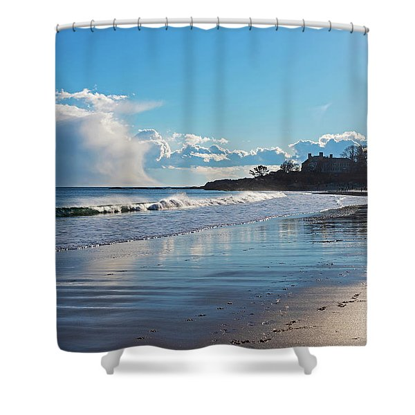 Singing Beach Waves Ocean And Sky Manchester-by-the-sea Ma Shower Curtain
