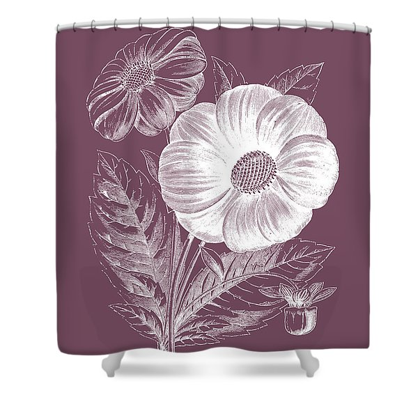 Single Dahlias Purple Flower Shower Curtain