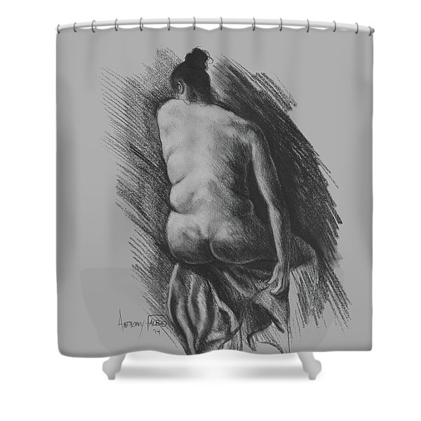 Sitting Woman Nude Shower Curtain