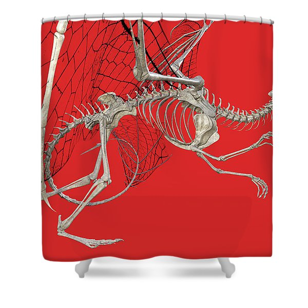 Skeleton Dragon With Red Shower Curtain