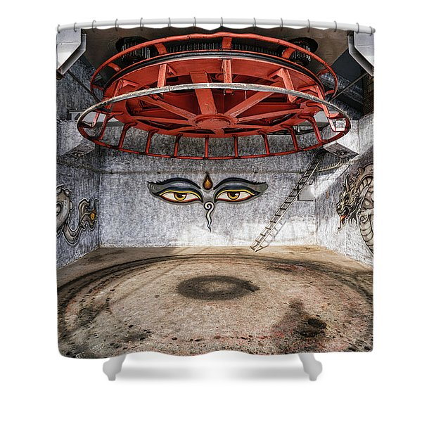 Shower Curtain featuring the photograph Ski Lift Turnaround by Milan Ljubisavljevic