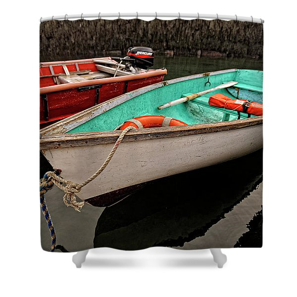 Shower Curtain featuring the photograph Skiffs by Tom Gresham