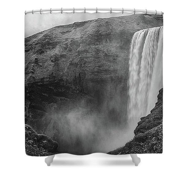 Skogafoss Iceland Black And White Shower Curtain