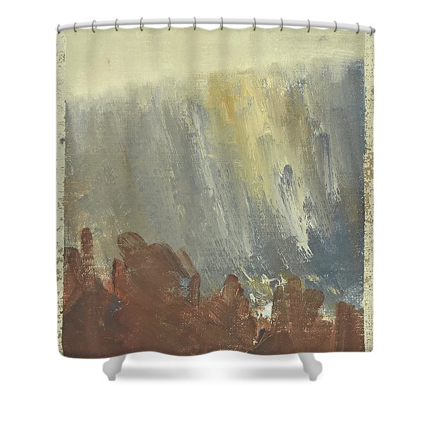 Skogklaedd Fjaellvaegg I Hoestdimma- Mountain Side In Autumn Mist, Saelen _1237, Up To 90x120 Cm Shower Curtain