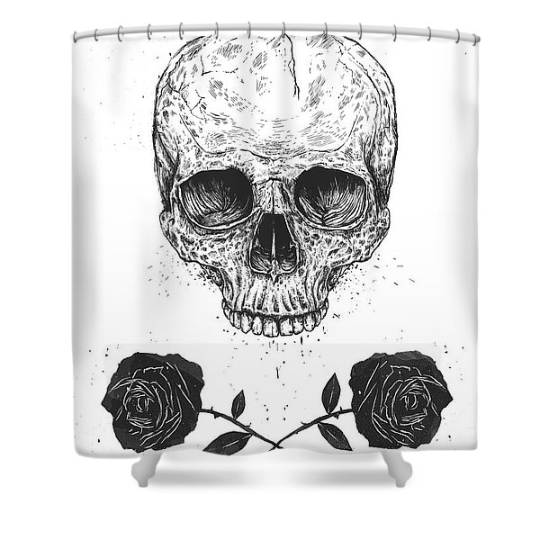 Skull N' Roses Shower Curtain