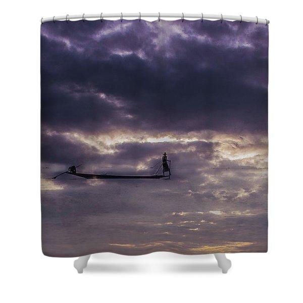 Sky Fisherman Shower Curtain