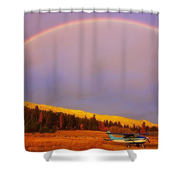 Shower Curtain featuring the photograph Skylane Rainbow by Tom Gresham