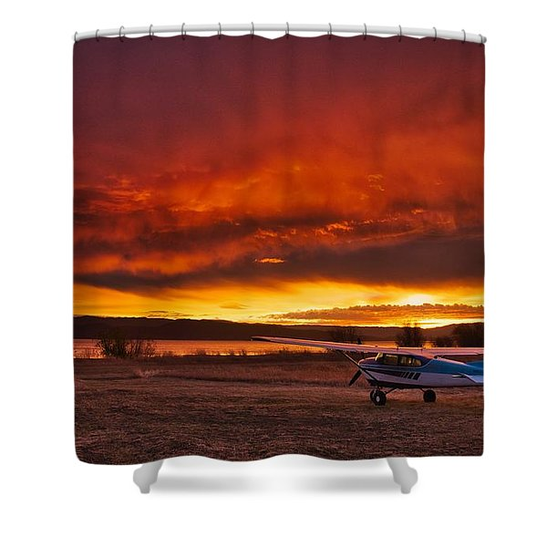 Shower Curtain featuring the photograph Skylane Sunrise by Tom Gresham