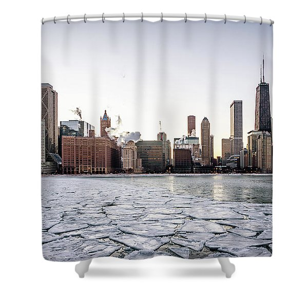 Skyline And Cracks In The Water Shower Curtain