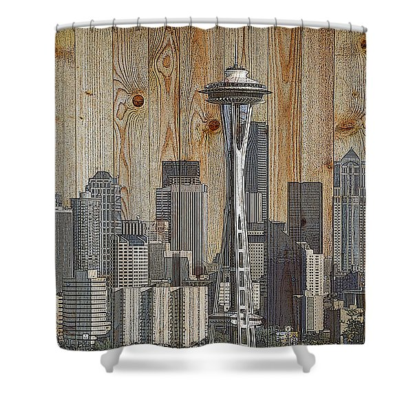 Skyline Of Seattle, Usa On Wood Shower Curtain