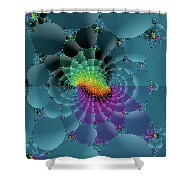 Slate Blue Fractal Shower Curtain