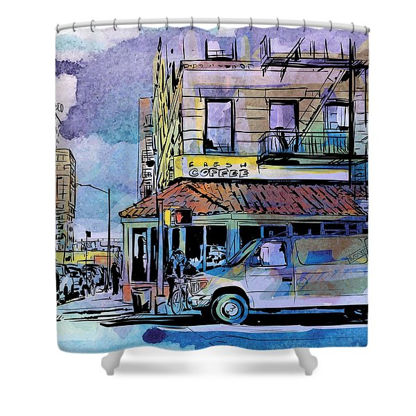 Shower Curtain featuring the digital art Small Town by Stanley Mathis